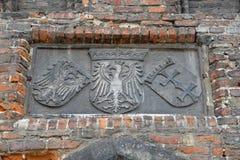 Altes Flachrelief mit dem Bild der Wappen von wir Lizenzfreie Stockbilder