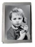 Altes Foto in einem Weinlese photoalbum stockfotos