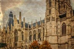 Altes Foto mit Kathedrale von St Michael und von St. Gudula, Brüssel stockbild