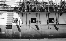 Altes französisches Schlachtschiff, L ` Hermione stockfoto