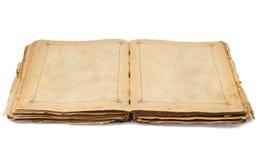 Altes geöffnetes Buch der Weinlese und leere Seiten Stockfotos