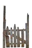 Altes gealtertes verwittertes ländliches ruiniertes Grey Wooden Gate, lokalisierte Gray Wood Garden Fence Entrance-Zugangs-große  lizenzfreie stockfotos