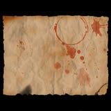 Altes gebranntes blutiges Papier Stockbilder