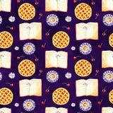 Altes gelbes Papier auf dunklem Hintergrund Nahtloses Muster Blumenpansies, -lavendel, -botanik und -bücher Wei?er Hintergrund vektor abbildung