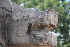 Altes gemeißeltes kopf- Mayachichen Itza, Mexiko Stockfoto