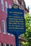 Altes Gericht-Adams County historische Markierung Lizenzfreie Stockfotos