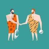 Altes Geschäftsmannabkommen Neanderthal-Vereinbarung Prähistorischer Mann Stockbild