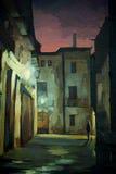 Altes gotisches Viertel in Barcelona nachts vektor abbildung