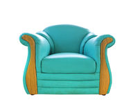 Altes grünes ledernes Sofa Stockfotografie