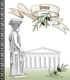 Altes Griechenland-Ikonensatz Skulptur und Gebäude Stockfoto