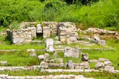 Altes Griechenland-Stadt Dion Ruinen des Schongebiets zu Zeus Archäologischer Park der heiligen Stadt von Macedon stockfotos