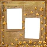 Altes grunge Feld mit Herbstblättern Stockfotografie