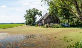 Altes Gutshaus in einer niederländischen Polderlandschaft Stockbilder