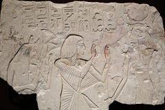 Altes ägyptisches Steinwandschnitzen Stockbild