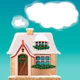 Altes Häuschen bedeckt im Schnee ENV 10 Stockfoto