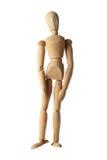 Altes hölzernes blindes Gefühlstrauriges des Mannequins lokalisiert auf Weiß Lizenzfreies Stockbild