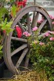 Altes hölzernes Wagen-Rad auf einer Hausmauer verziert mit roter blühender hängender Pelargonie, auf Ostermontag lizenzfreie stockfotos
