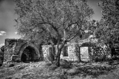 Altes Haus der Ruine in Har Tabor stockfoto