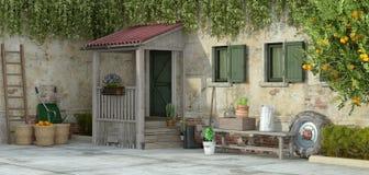 Altes Haus mit Gartenarbeitwerkzeugen - Wiedergabe 3d Lizenzfreie Stockfotos