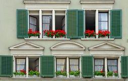 Altes Haus mit grünen Fensterläden und Pelargonien Stockfoto