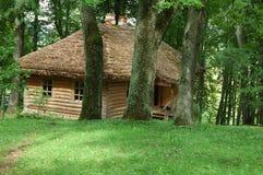 Altes Haus mit Strohdach im dichten Wald Stockfotos