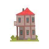 Altes Haus mit zwei Geschossen mit rotem Dach, Retro- Architekturgebäude-Vektor Illustration vektor abbildung