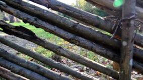 Altes Holz benutzt als Zaun stock video