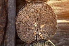 Altes Holzhaus der runden Klotz Lizenzfreie Stockfotografie