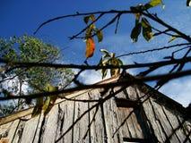 Altes Holzhaus an einem Herbstnachmittag lizenzfreies stockfoto