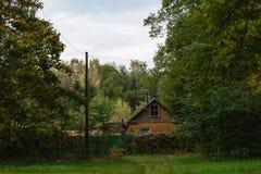 Altes Holzhaus mitten in dem Wald Stockfotografie
