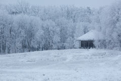 Altes Holzhaus mitten in dem Wald im Winter Lizenzfreie Stockfotografie
