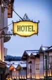 Altes Hotelzeichen Stockfoto