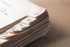 Altes Index-Buch Lizenzfreies Stockbild