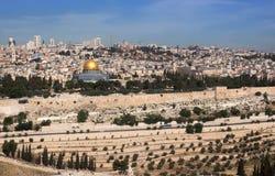 Altes Jerusalem von Oliva Mountain Stockbilder