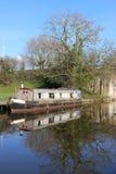 Altes Kanalengeboot auf Lancaster-Kanal, Garstang Stockfotos
