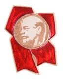 Altes kommunistisches Abzeichen mit Vladimir Lenin Stockfotos