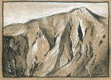 Altes Kraftpapier mit Schwarzweiss-Handzeichnung stock abbildung