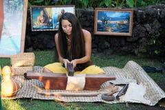 Altes Lahaina Laua - hawaiisches Mädchen stockfotos