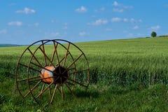 Altes landwirtschaftliches Ausrüstungsrad stockfotos