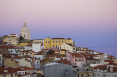 Altes Lissabon am Sonnenuntergang Lizenzfreies Stockbild