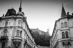 Altes Ljubljana und das Schloss Stockfotos