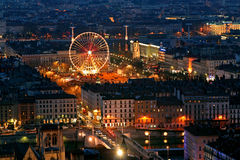 Altes Lyon nachts Lizenzfreie Stockfotografie
