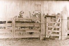 Altes müdes Bauernhofgatter im Sepia Stockfotos