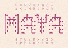 Altes Mayaalphabet Hieroglyphische alte Buchstabeschablone Aztekisches Alphabet vektor abbildung