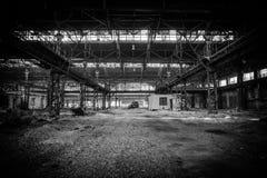 Altes, metallurgisches festes, auf eine Demolierung wartend Stockfoto