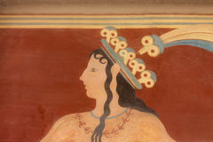 Altes minoan Fresko von Knossos, Kreta Lizenzfreies Stockfoto