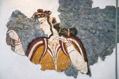 Altes minoan Fresko von Thera im Museum Lizenzfreies Stockfoto