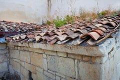 Altes mit Ziegeln gedecktes Dach mit Gras und Moos Lizenzfreies Stockbild