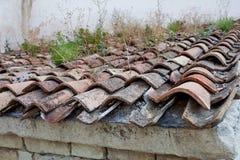 Altes mit Ziegeln gedecktes Dach mit Gras und Moos Stockfoto