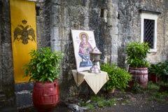 Altes Mosaik der orthodoxen Kirche Stockfotografie